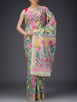 Cream-Multicolor Muslin Saree