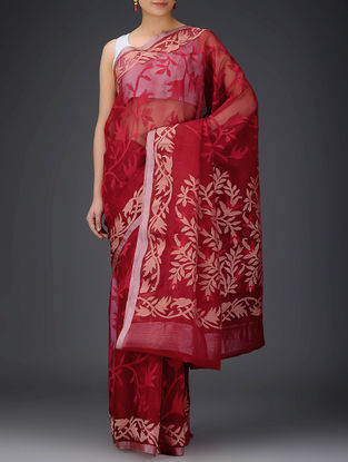 Red-Beige Muslin Saree