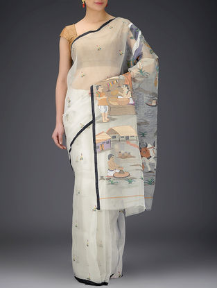 Ivory-Multicolor Muslin Saree