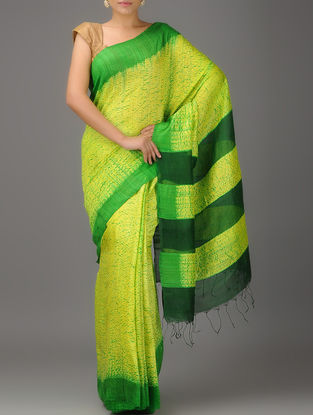 Green-Yellow Jamdani Matka Silk Saree