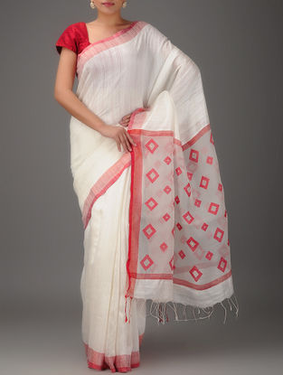White-Red Jamdani Matka Silk Saree