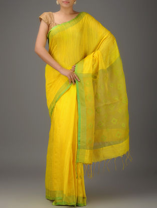 Yellow-Green Jamdani Matka Silk Saree with Zari