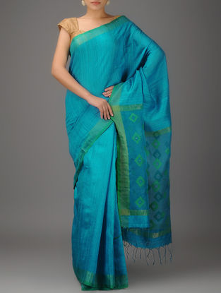 Blue-Green Jamdani Matka Silk Saree with Zari