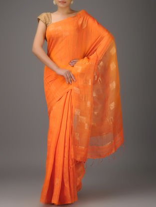 Orange Jamdani Matka Silk Saree with Zari