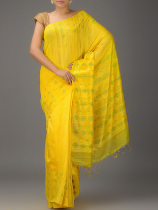 Yellow-Green Jamdani Matka Silk Saree