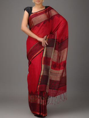 Red Jamdani Matka Silk Saree