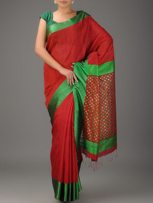 Maroon-Green Jamdani Matka Silk Saree with Zari
