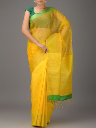 Yellow-Green Jamdani Matka Silk Saree With Sequins
