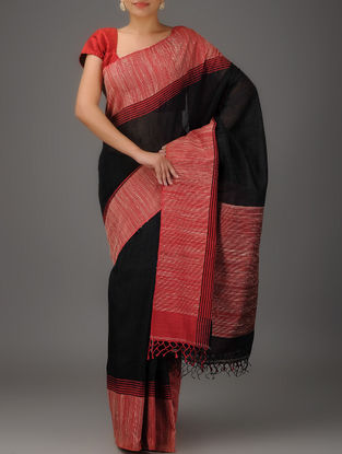 Black-Red Jamdani Matka Silk Saree