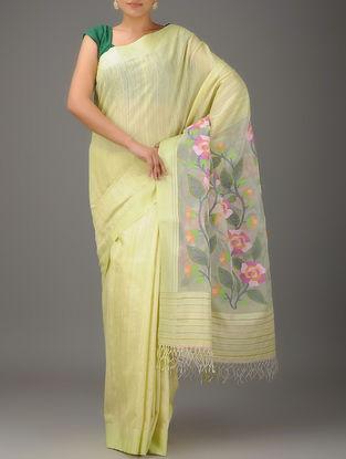 Yellow-Multicolor Jamdani Matka Silk Saree