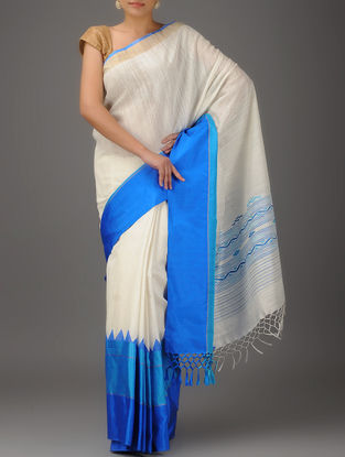 Ivory-Blue Jamdani Matka Silk Saree with Zari