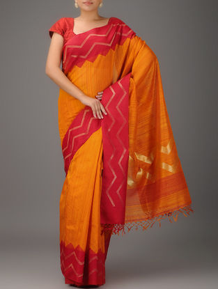 Mustard-Pink Jamdani Matka Silk Saree with Zari Border