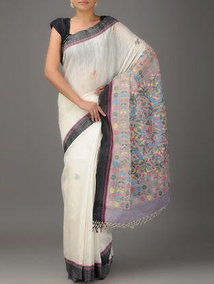 Ivory-Black-Multicolor Jamdani Matka Silk Saree