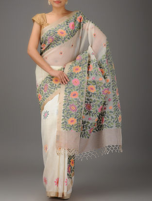 Ivory-Multicolor Jamdani Matka Silk Saree