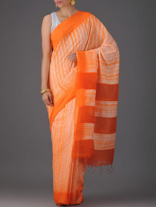 Orange-White Cotton Silk Saree with Jamdani Pallu