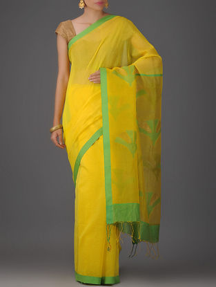 Yellow-Green Cotton Silk Saree with Jamdani Pallu