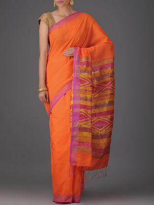 Orange-Pink Cotton Silk Saree with Jamdani Pallu