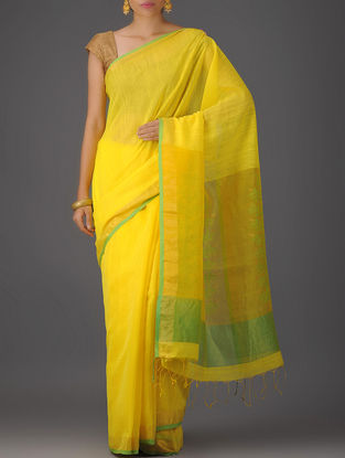 Yellow Cotton Silk Saree with Jamdani Pallu