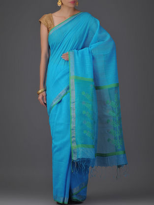 Blue Cotton Silk Saree with Jamdani Pallu