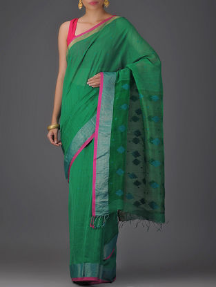 Green Cotton Silk Saree with Jamdani Pallu
