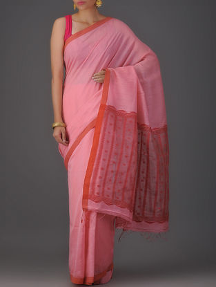 Pink Cotton Silk Saree with Jamdani Pallu