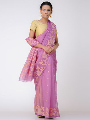 Pink-Beige Jamdani Muslin Silk Saree with Zari