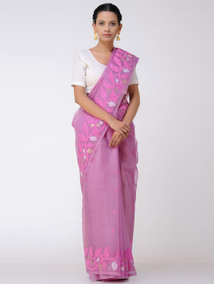 Pink-Ivory Jamdani Muslin Silk Saree with Zari