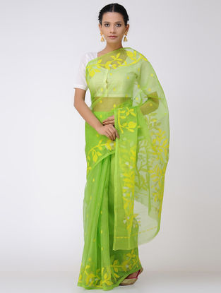 Green-Yellow Jamdani Muslin Silk Saree