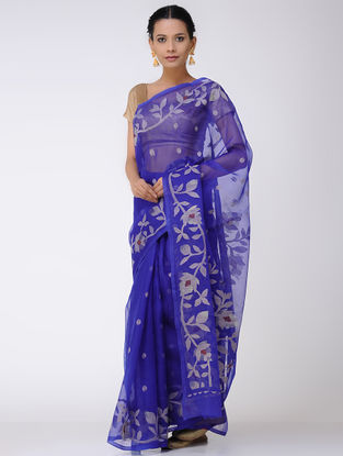 Blue-Ivory Jamdani Muslin Silk Saree with Zari
