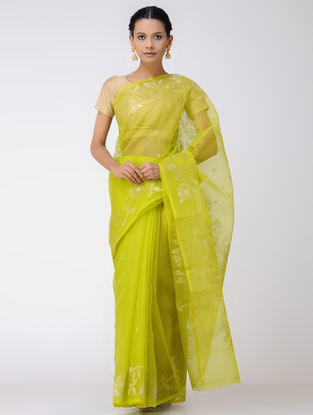 Green Jamdani Muslin Silk Saree with Zari