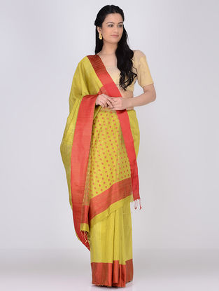 Yellow-Red Matka Silk Saree with Jamdani Palla