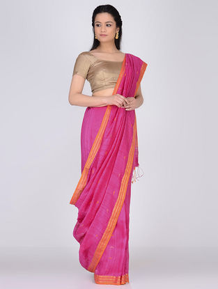 Pink-Orange Matka Silk Saree with Jamdani Palla and  Zari Border