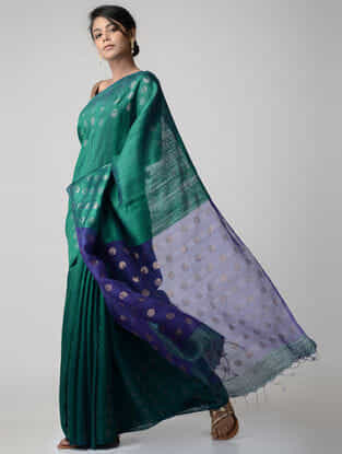 Green-Blue Jamdani Matka Silk Saree with Zari