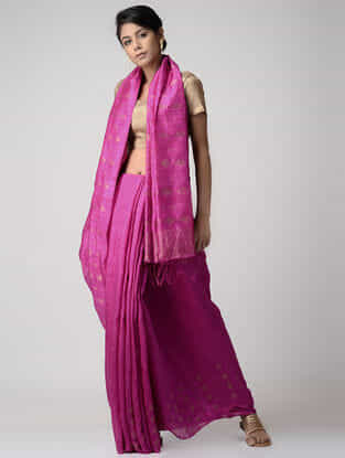 Pink Jamdani Matka Silk Saree with Zari