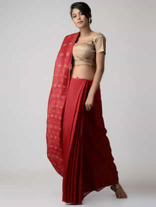 Red Jamdani Matka Silk Saree with Zari