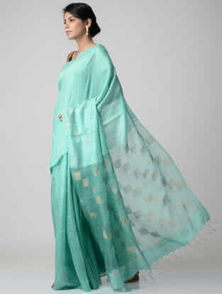 Sea-Green Jamdani Matka Silk Saree with Zari