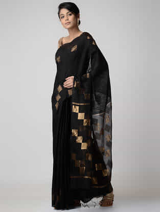 Black Jamdani Matka Silk Saree with Zari