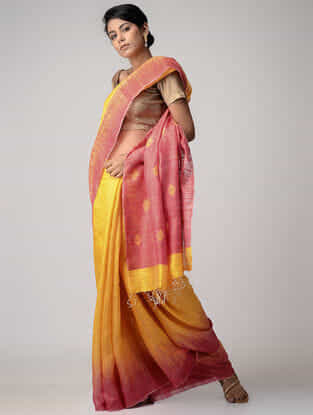 Yellow -Pink Jamdani Matka Silk Saree