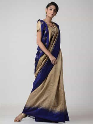 Blue-Beige Jamdani Matka Silk Saree