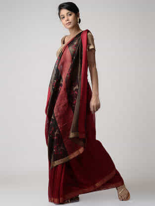Red-Black Jamdani Matka Silk Saree with Zari