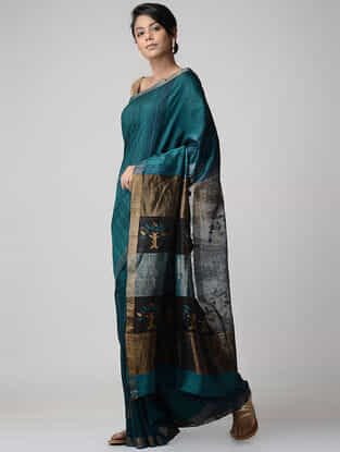 Teal-Black Jamdani Matka Silk Saree with Zari
