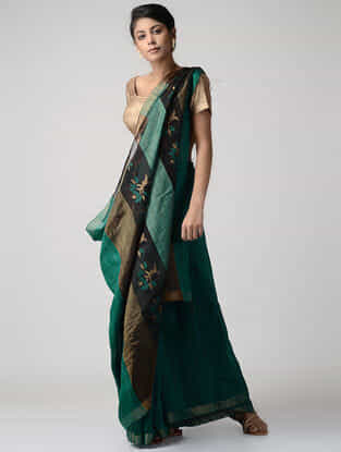 Green-Black Jamdani Matka Silk Saree with Zari