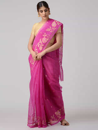 Fuchsia Muslin Silk Saree with Zari