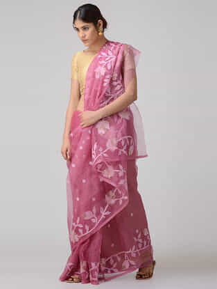 Pink-Ivory Muslin Silk Saree with Zari