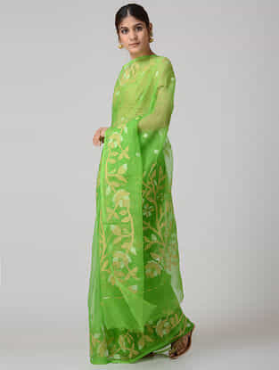 Green-Ivory Muslin Silk Saree with Zari