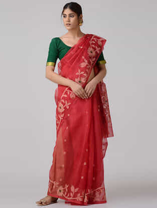 Red-Ivory Muslin Silk Saree with Zari