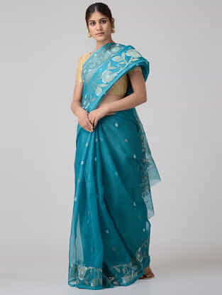Blue-Ivory Muslin Silk Saree with Zari