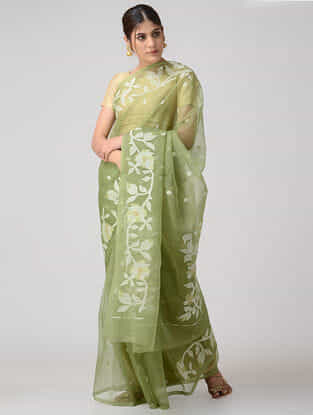Green-Ivory Muslin Silk Saree
