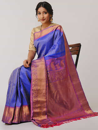 Blue-Pink Gadwal Silk Saree