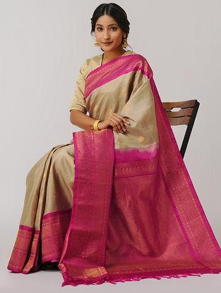 Beige-Pink Gadwal Silk Saree